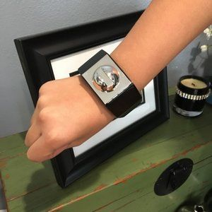 A.L.C. Andrea Lieb. Wide BLACK RESIN Cuff Bracelet